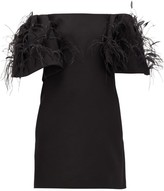 Valentino Off-the-shoulder Feather-trimmed Wool-blend Dress - Womens - Black