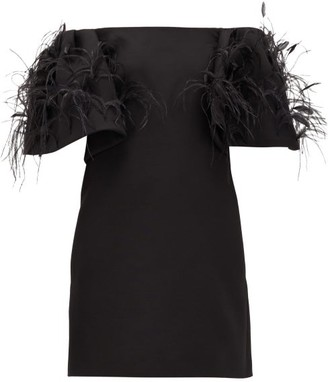Valentino Off-the-shoulder Feather-trimmed Wool-blend Dress - Black