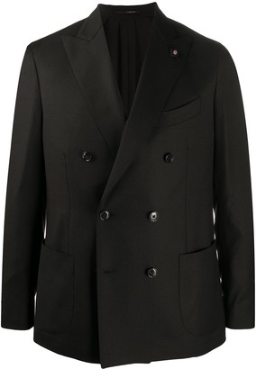 Lardini Double-Breasted Patch Pocket Blazer