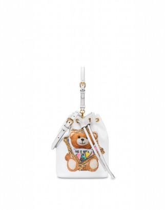 Moschino Frame Teddy Bear Bucket Bag Woman White Size U It - (one Size Us)