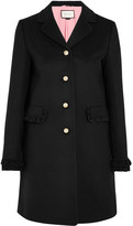 Gucci Ruffle-trimmed Wool Coat - Black