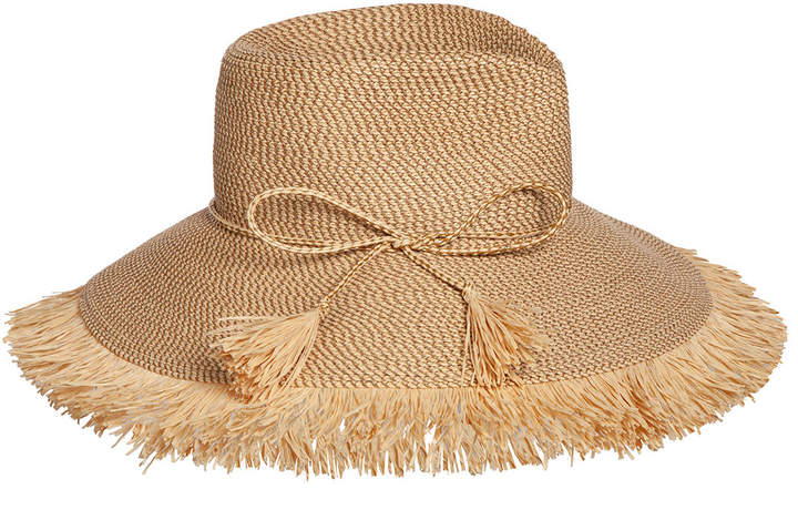 c100b1108 Antigua Woven Raffia Fringe Sun Hat