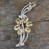 Hand Crafted 7 Carats Citrine Sterling Silver Brooch Pin, 'Marigold Sunshine'