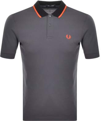 Fred Perry Tipped Collar Polo T Shirt Grey