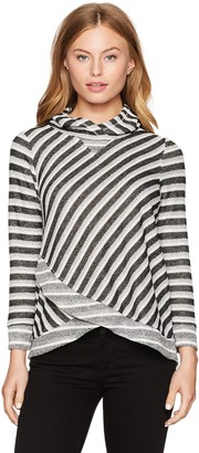 Ruby Rd. Women's Petite Subtle Tones French Terry Stripe Pullover with Hood