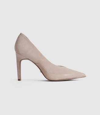 Reiss ALENNA Suede court shoes Taupe