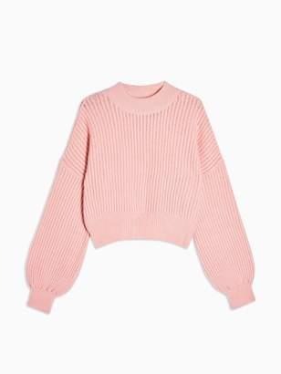 Topshop Pointelle Balloon Sleeve Jumper - Pink
