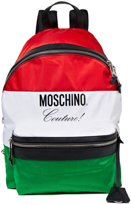 Moschino Leather-trimmed Color-block Printed Shell Backpack