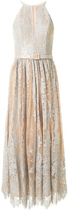 Badgley Mischka Lace Flared Midi Dress