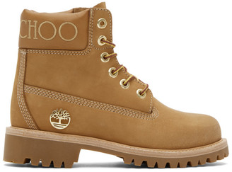 Jimmy Choo Beige and Gold Timberland Edition Nubuck Boots