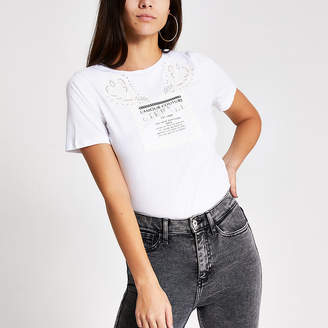 River Island White printed diamante boyfriend T-shirt