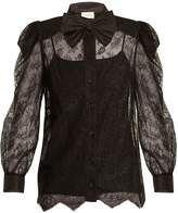 Gucci Bow-embellished floral-lace top