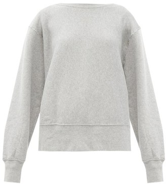 LES TIEN Crew-neck Brushed-back Cotton Sweatshirt - Grey