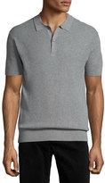 ATM Anthony Thomas Melillo Short-Sleeve Knit Polo Shirt, Gray