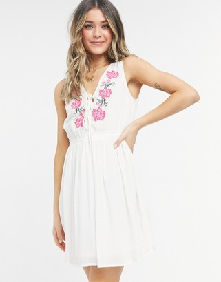 Figleaves salma embroidred beach dress in white