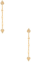 Luv Aj Moonstone Chain Drop Earrings in Metallic Gold.