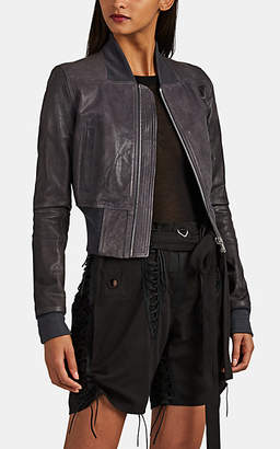 Rick Owens Women's Grained Leather Crop Bomber Jacket - Navy