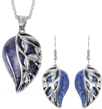 Shop Lc Steel Lapis Lazuli Leaf Earrings Pendant Necklace 20 Inch Set Ct 70 - Size 20''