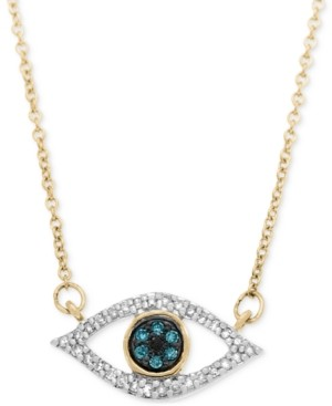 Wrapped Diamond Evil-Eye Pendant Necklace (1/6 ct. t.w.) in 10k Gold, Created for Macy's