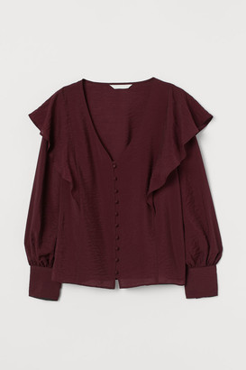 H&M Flounce-trimmed Blouse - Red