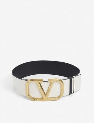Valentino V-logo wide leather belt