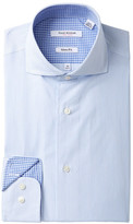 Isaac Mizrahi Fine Line Stripe Slim Fit Dress Shirt