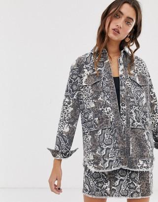 Only snake print utility denim jacket-Multi