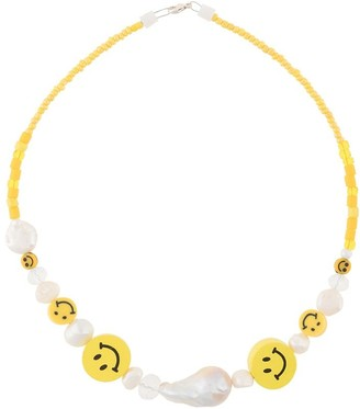 WALD BERLIN Faux-Pearl Beaded Smiley Necklace