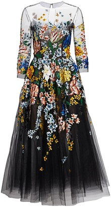 Oscar de la Renta Floral-Painted Tulle Cocktail Dress