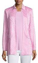 Misook Long Textured Open-Front Jacket, Petite