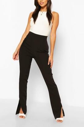 boohoo Long Line Split Hem Woven Pants
