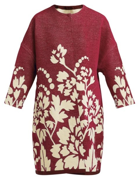 Märit Ilison - Reversible Floral Intarsia Cotton Coat - Womens - Burgundy Multi