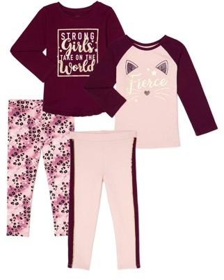 Garanimals Toddler Girls Fashion Tops and Knit Leggings Outfit Set, 4-Piece