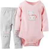 Carter's 2 Piece Bodysuit Set (Baby) - Pink/Gray-9 Months