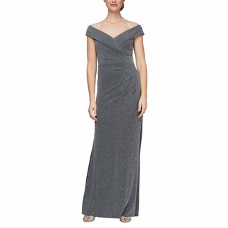 Alex Evenings Women's Long Off The Shoulder Fit and Flare Gown Dress