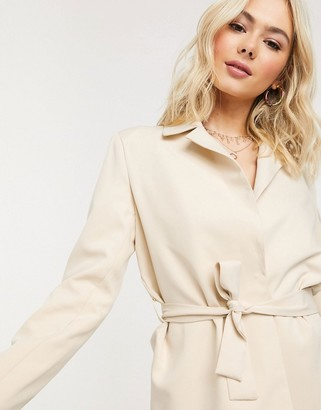 Heartbreak tie waist blazer suit in cream