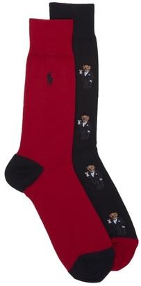 Polo Ralph Lauren Mini Martini Bear Dress Socks 2-Pack