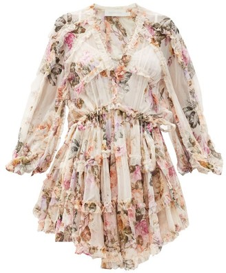 Zimmermann Brighton Ruffled Floral-print Silk-voile Dress - White Print