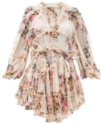 Zimmermann Brighton Ruffled Floral-print Silk-voile Dress - White Print