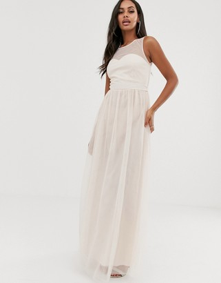 Little Mistress mesh insert maxi dress in pink