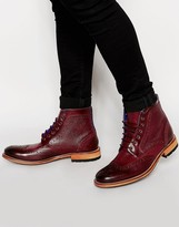 Ted Baker Sealls Leather Brogue Boots - Red
