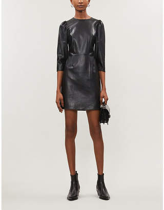 The Kooples Round-neck faux-leather mini dress