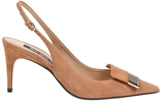 Sergio Rossi Pointed Slikgback In Leather Color Suede With Gold Metal Plate