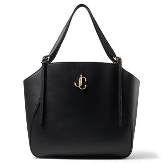 Jimmy Choo VARENNE TOTE Black Leather Tote Bag with JC Emblem
