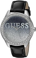 GUESS Women's U0823L2 Trendy Silver-Tone Watch with Black Dial , Crystal-Accented Bezel and Genuine Leather Strap Buckle