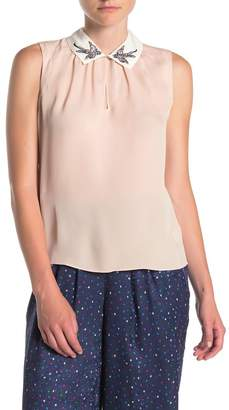 Rebecca Taylor Sparrow Embroidered Collared Silk Blouse