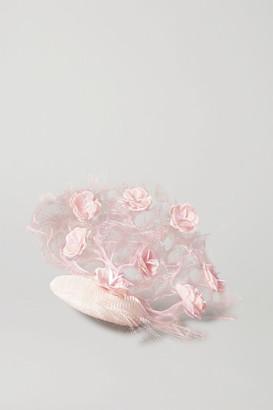 Merve Bayindir Wangari Tulle, Silk And Crinoline Fascinator - Pink