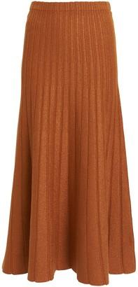 Ronny Kobo Lanie Metallic Ribbed Midi Skirt