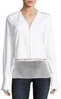 Elie Tahari Jaye Long-Sleeve Zip-Front Blouse
