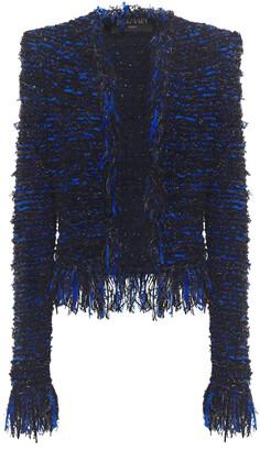 Balmain Fringed Embellished Boucle-knit Jacket